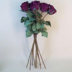 Artificial Roses Bouquet Aubergine Plum - R733