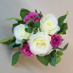 Artificial Roses Posy Dark Pink and Cream - R546 HH4