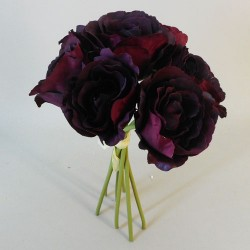 Artificial Roses Bunch Burgundy - R121 HH3