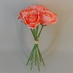 Artificial Roses Bunch Coral x 7 - R347 N1