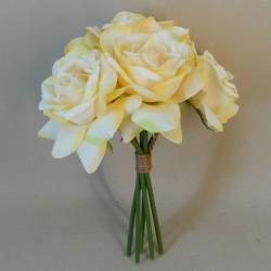 Artificial Roses Bunch Lemon Yellow - R394 L1