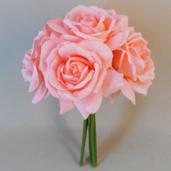 Artificial Roses Bunch Mid Coral - R352 N3