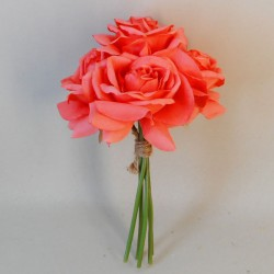 Artificial Roses Bunch Coral - R351 L2