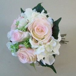 Artificial Roses Hydrangeas and Berries Posy Blush Pink - R069 HH1