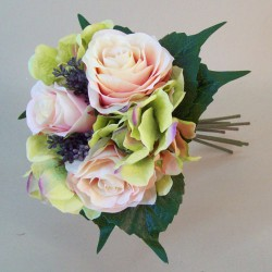 Artificial Roses Hydrangeas and Berries Posy Peach Green - R071 EE3