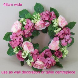 Artificial Roses, Hydrangeas and Viburnum Wreath Pink 48cm - R448 EE3
