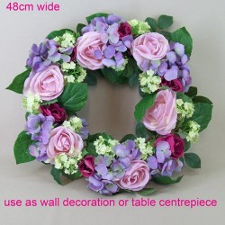 Artificial Roses, Hydrangeas and Viburnum Wreath Pink Purple Flowers 48cm - R449 P4