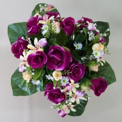 Artificial Roses Orchids and Camomile Bouquet Dark Pink - R436 LL4