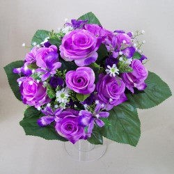 Artificial Roses Orchids and Camomile Bouquet Purple Flowers - R435 BX18