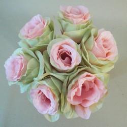 Artificial Roses Posy Pink Green Esperanza  - R823 O1