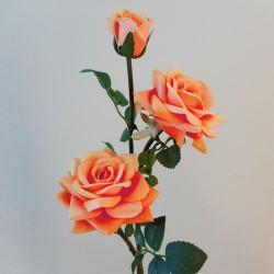 Artificial Roses Spray Apricot Velvet - R078 O4