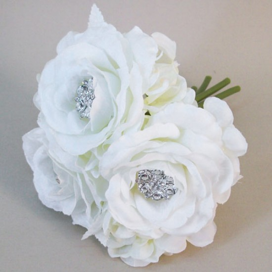 Artificial Roses and Hydrangeas Posy Ivory with Crystals - R555 HH4