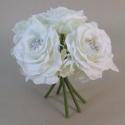 Artificial Roses and Hydrangeas Posy Ivory with Crystals - R555