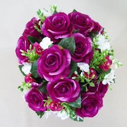 Artificial Roses and Oncidium Orchids Dark Pink - R442 BX15