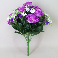 Artificial Roses and Oncidium Orchids Purple Flowers - R441 BX18