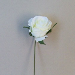 Artificial Silk Rose Buds on Wire Stem Cream - R545 M2