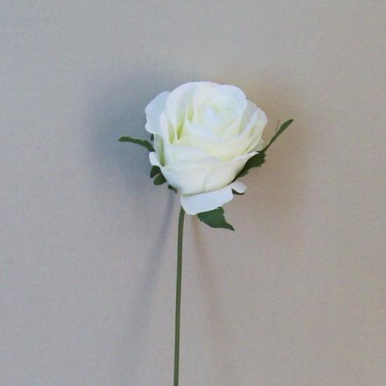 Artificial Silk Rose Buds on Wire Stem Cream - R545 M2