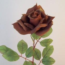 Artificial Tea Rose Chestnut Brown - R702 Q4