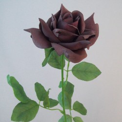 Artificial Tea Rose Chocolate Brown - R869 Q1