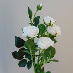 Artificial Flowers Rose Spray Ivory - R404 O3