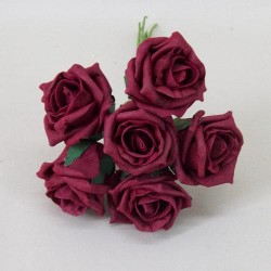 Colourfast Cottage Foam Roses Bundle Burgundy 6 Pack - R464 T2