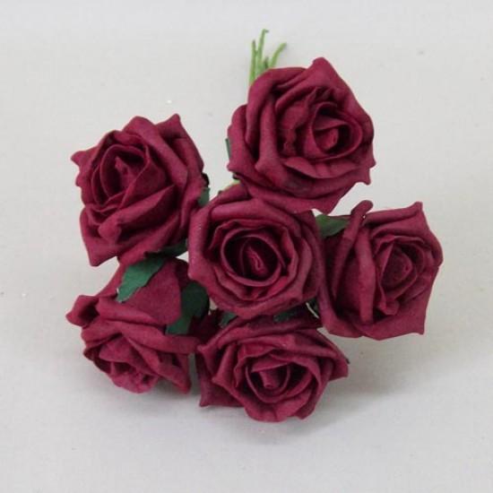 Colourfast Cottage Foam Roses Bundle Burgundy 6 Pack - R464 T2