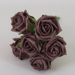 Colourfast Cottage Foam Roses Bundle Chocolate Brown 6 Pack - R459 T2