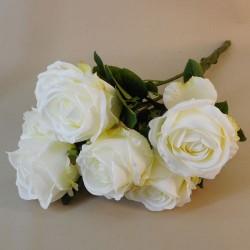 Cream Artificial Roses Bouquet x 7 54cm - R572 O1