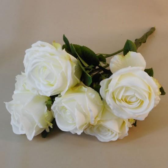 Cream Artificial Roses Bouquet x 7 54cm - R572