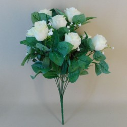 Artificial Rosebuds Bouquet Cream x 10 - R094 BB3