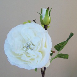 Crystal Gem Cabbage Rose Ivory - R744
