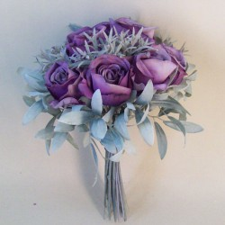 Eternity Artificial Roses Bouquet Aubergine Purple with Grey Green Leaves - R246 N1