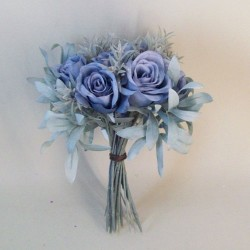 Eternity Artificial Roses Bouquet Dusky Blue with Grey Green Leaves - R247 N1