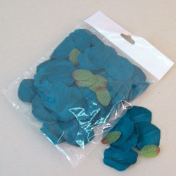 Fabric Rose Petals Teal Blue - R625