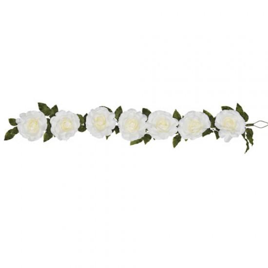 Giant Silk Roses Garland Cream 200cm   VM Display Prop - R961 BB4