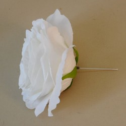 Large Artificial Roses White on Short Wire Stem - R766