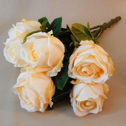 Lemon Peach Artificial Roses Bouquet x 7 54cm - R581