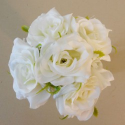 Mini Artificial Roses Posy Ivory - R522