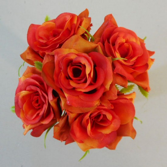 Mini Artificial Roses Posy Orange - R512