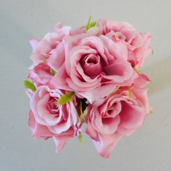 Mini Artificial Roses Posy Pink - R525
