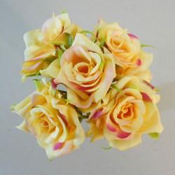 Mini Artificial Roses Posy Yellow - R519