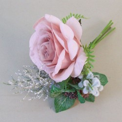 Romance Rose and Leaves Posy Pink - R752 P4