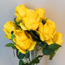 Artificial Roses Bush Yellow - R384 R4