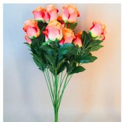 Artificial Rosebuds Bouquet Coral Peach x 16 - R577 BX15