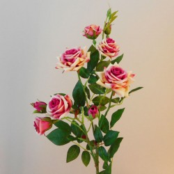 Artificial Flowers Rose Spray 'Paloma' Pink Cream 84cm 9 Flowers - R067 R4