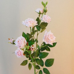 Artificial Flowers Rose Spray 'Sophie' Pale Pink 84cm 9 Flowers - R065 R4