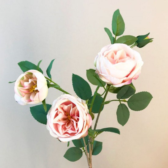 Rydal Artificial Cabbage Roses Spray Light Pink - R159 LL1