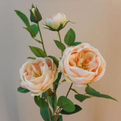 Rydal Artificial Cabbage Roses Spray Peach - R154 LL1
