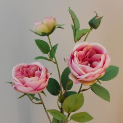 Rydal Artificial Cabbage Roses Spray Pink - R153 LL1