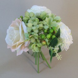Vintage Artificial Flowers Posy | Roses Peonies and Hydrangeas Cream Green - R668 HH4